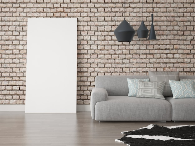 Plakat auf hippie-hintergrund mit einem großen sofa