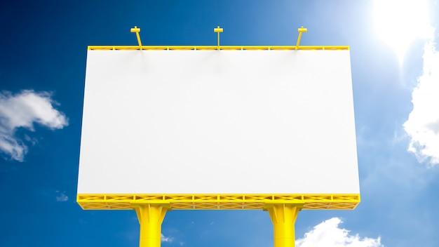 Plakat für die werbung der gelben farbe auf blauem himmel,