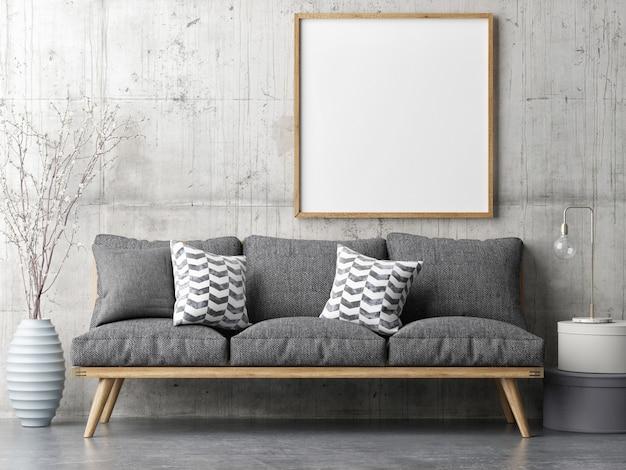 Plakat mit bequemem retro-sofa wohnzimmer