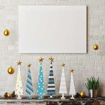 Plakat mit neujahrsdekoration hölzernen weihnachtsbaum