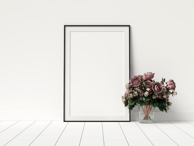 Plakat-modell im weißen innenraum mit blumen-dekoration
