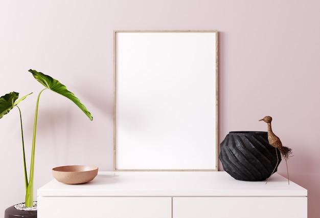 Plakat verspotten mit dekor nah oben, rosa wandhintergrund. skandinavischer stil. 3d-rendering