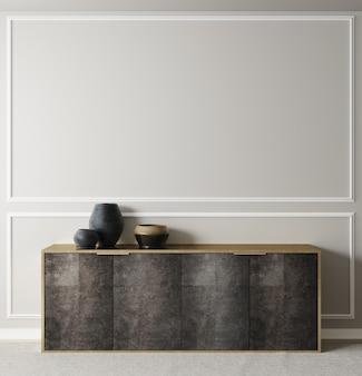 Plakat, wandmodell mit kabinett und dekor im inneren hintergrund, 3d-rendering