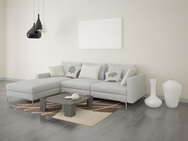 Plakat wohnzimmer mit einem ecksofa