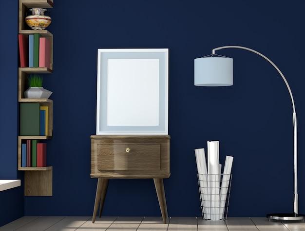 Plakatplanrahmen mit blauer wand und büchern, innenhintergrund, sichtbarmachung 3d