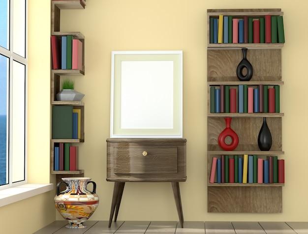 Plakatplanrahmen mit gelber wand und büchern, innenhintergrund, sichtbarmachung 3d