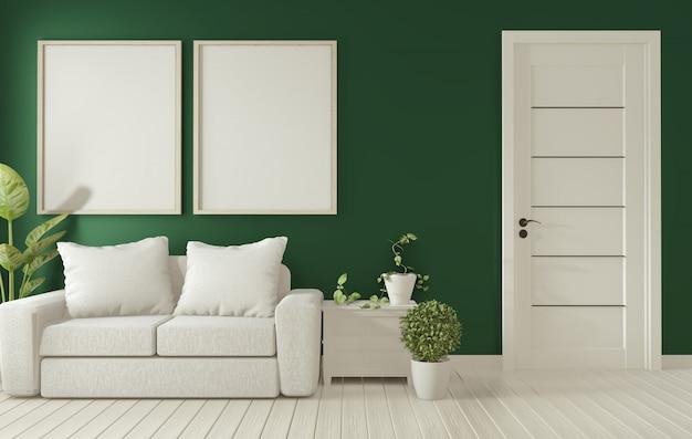 Plakatrahmen auf dunkelgrünem wohnzimmer interior.3d wiedergabe