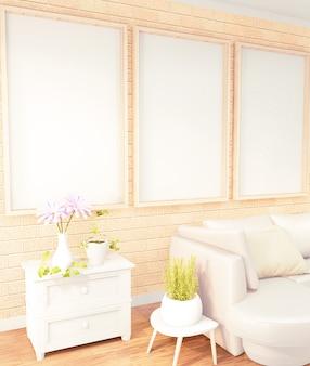 Plakatrahmen gelbes sofa auf dachbodenrauminnenraum, backsteinmauerdesign wiedergabe 3d