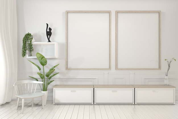 Plakatrahmen und kabinett und dekorationspflanzen auf minimalem design des reinraums.
