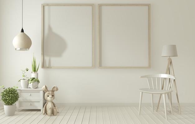 Plakatrahmen und weißer stuhl auf weißem wohnzimmer wiedergabe 3d