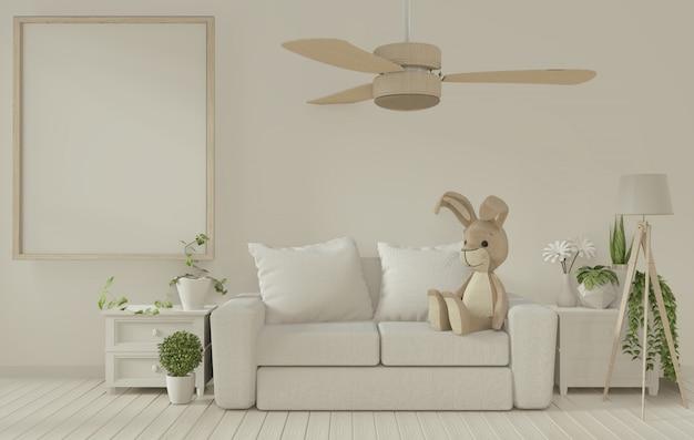 Plakatrahmen und weißes sofa auf weißem wohnzimmer interior.3d wiedergabe