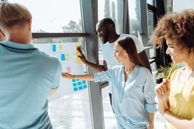 Planen sie jeden schritt. professionelle junge internationale kollegen, die im büro stehen und ihr projekt besprechen, während sie weitere arbeiten planen