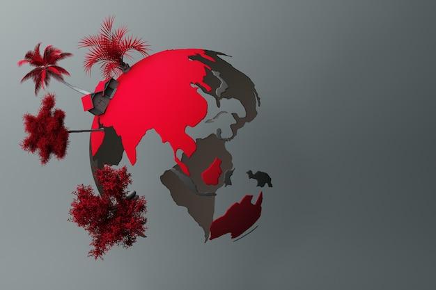 Planet bunt in frieden auf einem grauen pastellhintergrund. 3d-rendering