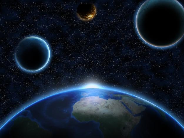 Planet erde aus dem weltraum mit anderen planeten und galaxiensternen