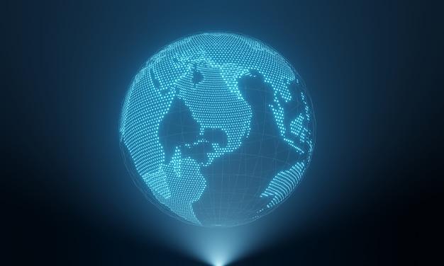 Planet erde in hologrammanzeige