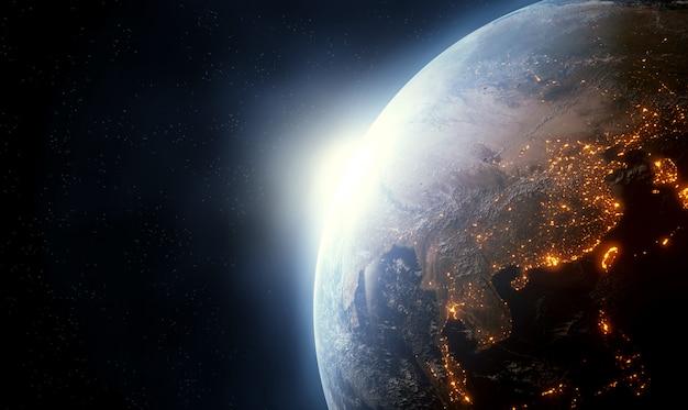 Planet erde mit einem spektakulären sonnenaufgang. 3d-rendering, elemente dieses bildes von der nasa geliefert