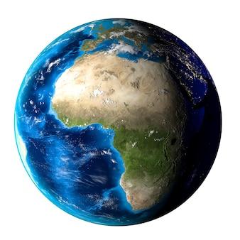 Planet erde mit wolken, europa und afrika auf weißem hintergrund.