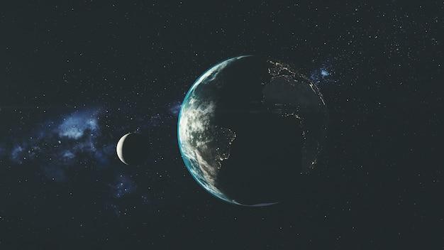 Planet erde spin mond orbit space sonnenstrahl glühen