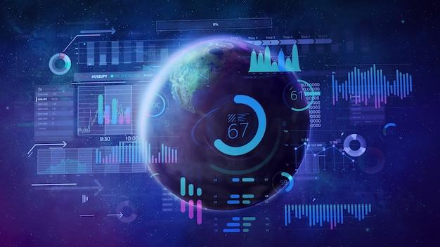 Planet erde umgeben von mehrfarbigen grafiken und diagrammen auf dem hintergrund eines stern-weltraums