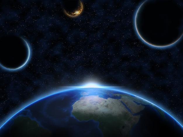 Planet erde und zwei außerirdische monde mit sonnenaufgang im weltraum