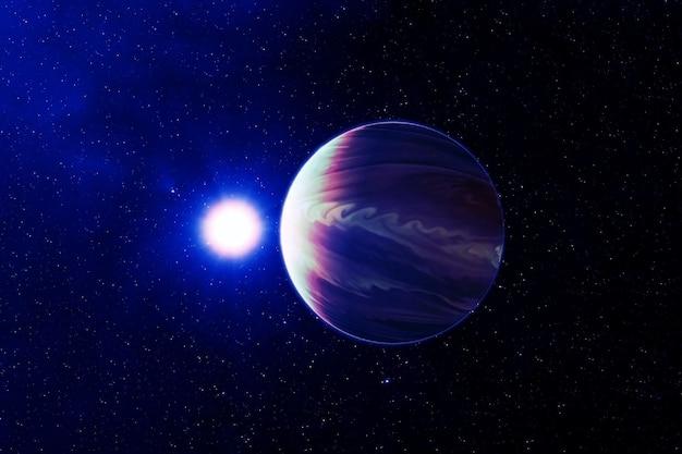 Planet jupiter, in ungewöhnlichen farben. elemente dieses bildes wurden von der nasa bereitgestellt. foto in hoher qualität