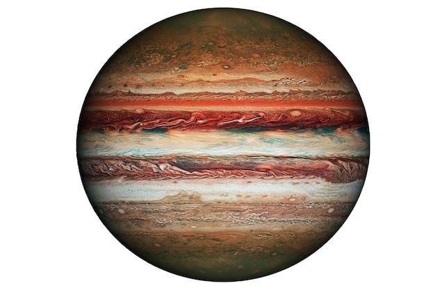 Planet jupiter isoliert auf weißem hintergrund. elemente dieses bildes wurden von der nasa bereitgestellt. foto in hoher qualität
