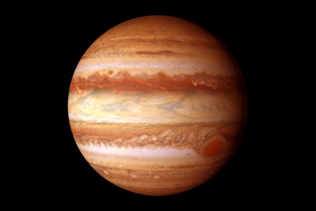 Planet jupiter mit einem großen fleck auf schwarzem hintergrund elemente dieses von der nasa bereitgestellten bildes