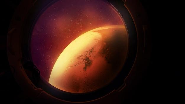 Planet mars aus dem bullauge eines raumschiffs