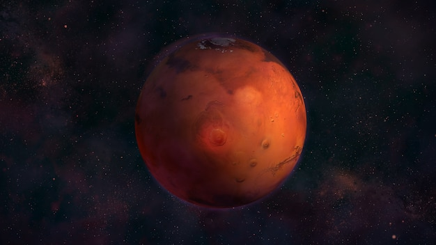 Planet mars aus dem weltraum mit blick auf nix olympica