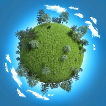 Planet mit frischem grünem feld und bäumen