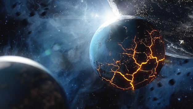 Planet mit riesigen rissen mit lava im weltraum