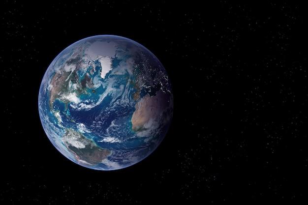 Planetenerde aus dem weltraum auf dunklem hintergrund. elemente dieses bildes wurden von der nasa bereitgestellt.