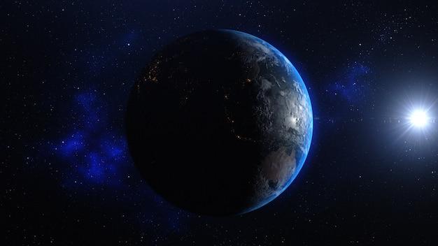 Planetenerde mit sonnenaufgang im raum