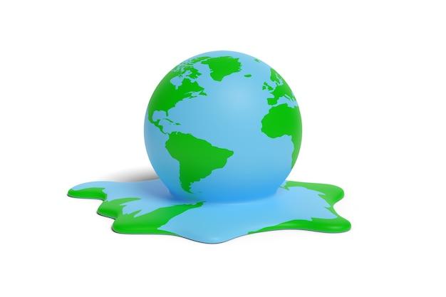 Planetenerde schmelzen isoliert auf weißem hintergrund. konzept der globalen erwärmung. 3d-darstellung.