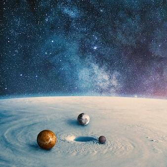 Planetenoberfläche mit runden planeten darin. collage mit kosmos- und astronomiethema. negatives leerzeichen, um ihren text einzufügen. modernes design. zeitgenössische bunte und konzeptionelle helle kunstcollage.