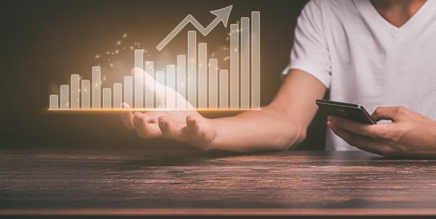 Planung und strategie unternehmenswachstum virtuelle hologramm-aktien investieren in den handel