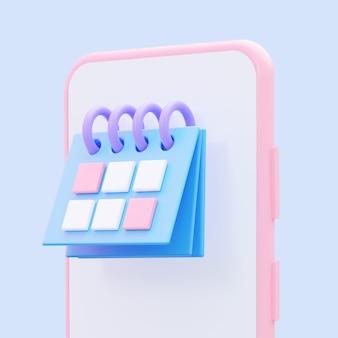 Planungskalender am telefon. 3d-rendering.