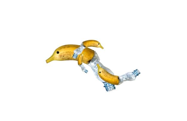 Plastikflasche und bananendelphin isoliert auf weißem hintergrund. tiere, die verschmutzte nahrung essen. umweltproblem. ökologisches desaster. recyclingproblem.