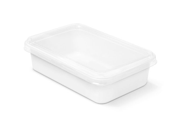 Plastikkasten der leeren verpackung für das lebensmittel lokalisiert