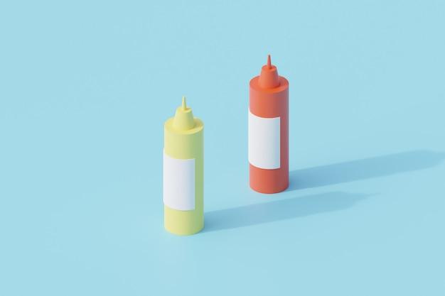 Plastiksaucenflasche einzelnes isoliertes objekt. 3d-rendering