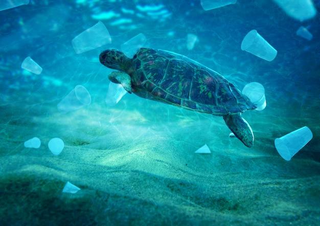 Plastikverschmutzung im umweltproblem des ozeans schildkröten können plastik fressen und denken, sie seien quallen