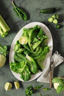 Platte gesunde vegane lebensmittel mit gemüse, nüssen, samen und getreide draufsicht