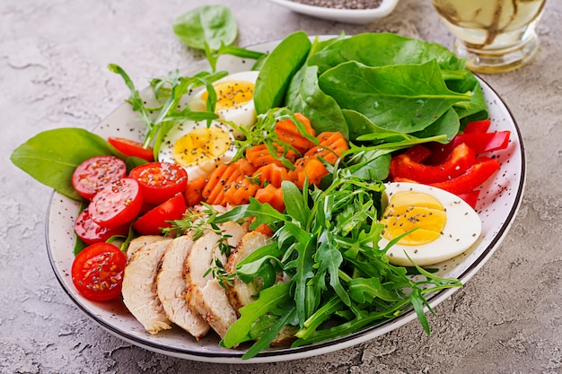 Platte mit einem ketodiätfutter. kirschtomaten, hühnerbrust, eier, karotten, salat mit rucola und spinat. keto-mittagessen
