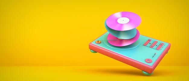 Plattenspieler auf gelbem raum, 3d-rendering