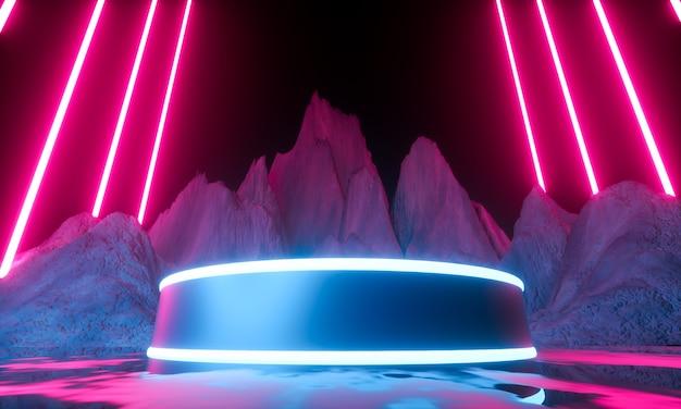 Plattform für die produktpräsentation. moderner abstrakter hintergrund des futuristischen neons. 3d rendern
