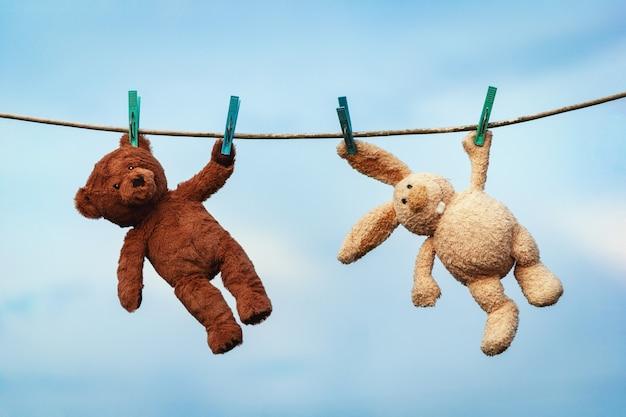 Plüschtiere hase und teddybär werden nach dem waschen auf einer wäscheleine getrocknet