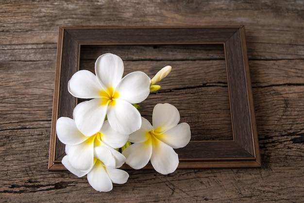 Plumeriablume auf holz und bilderrahmen