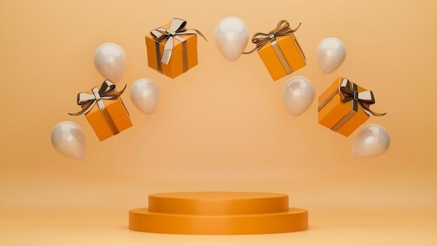 Podest für ihr produkt in orangefarbenem dekor mit fliegendem ballon und geschenkbox-posterbanner