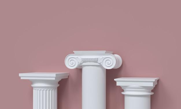 Podest für produktpräsentation aus klassischen säulen auf rosa hintergrund