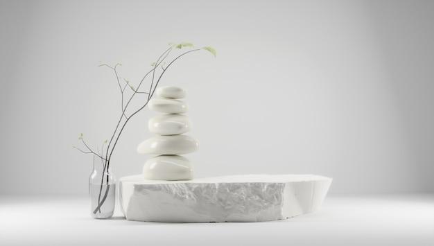 Podest für produktpräsentation mit feng shui japandi style lichtfläche mit steinen und pflanzen
